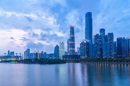 urban sprawl: guangzhou financial district at dusk,china,asia.