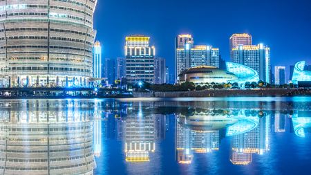 guangzhou central business district at night,china.Guangzhou historically romanised as Canton,is the capital and largest city of Guangdong Province in southeastern China.