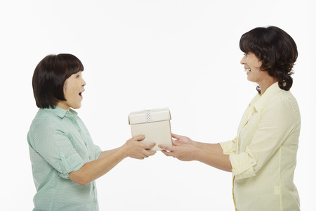 Woman presenting gift to another woman