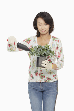 Woman gardening 写真素材