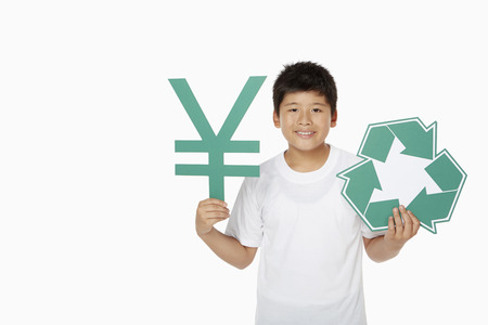 recycle logo: Boy holding up a Japanese Yen symbol and a Recycle logo