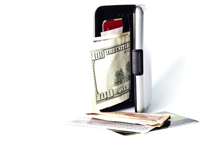 wallet with tickets isolated on a white background photo