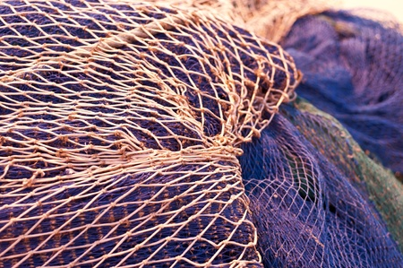 fishermen cords covered by a network photo