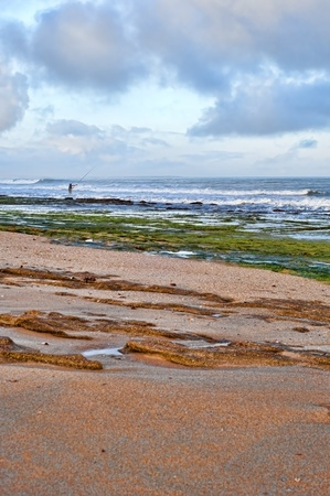 fishingpole: Fisheman with fishing rod on the beach, western sahara coast