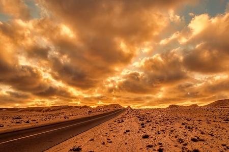 asphalt road in dakhla, western sahara photo