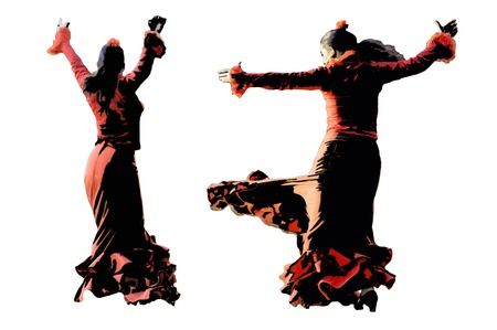 tambourine: Flamenco dancer dancing , isolated on a white background Stock Photo