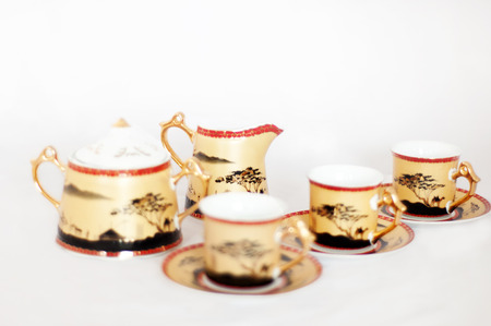 coffee set isolated on white background photo