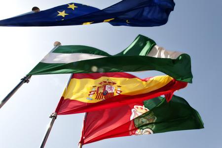european community: flags of European Community,spain , granada and andalusia