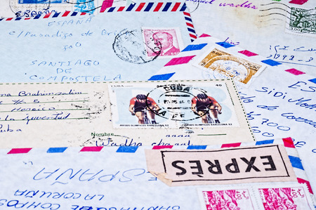 old letters: envelopes of old letters with stamps from various countries