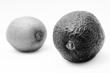 hass: Kiwi and avocado isolated on a white  Stock Photo
