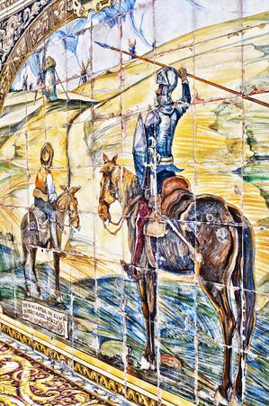 don quijote: Pintura del azulejo, Plaza española, Don Quijote y Sancho Panza