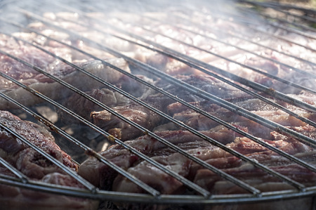 close shot: Close shot of hot fresh meat on grill
