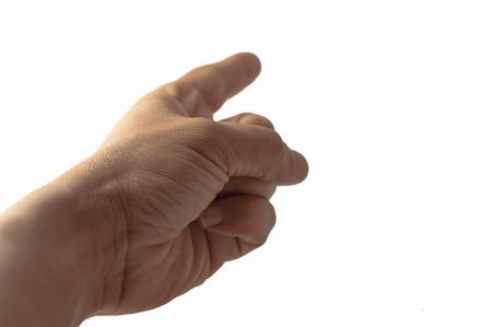 Finger zeigen mit dem Zeigefinger auf etwas isoliert auf weiß