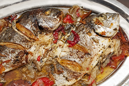 pikeperch: Fish dish, grilled fish with vegetables
