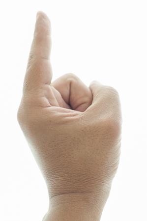 Man's hand with the index finger Foto de archivo