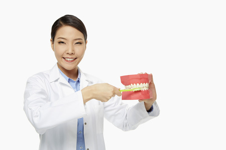 medical personnel: Medical personnel demonstrating how to brush teeth