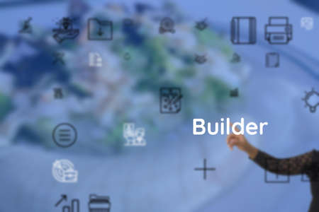 Builder indicate as for scheduler, cartoonist, blogger, essayist, handwriting, authoress, satirist Banque d'images
