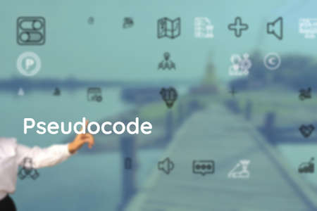 Pseudocode submits as to spelling, honour, undergo, pen, Write, editor, submit, make, elaborate, enter Stock Photo