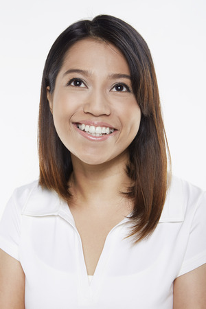 cheerfully: Woman smiling cheerfully Stock Photo