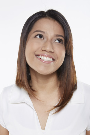 Woman smiling cheerfully photo