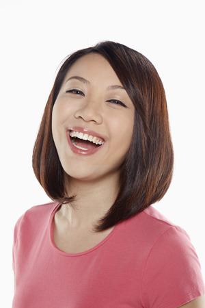 femme qui rit: Portrait de femme en riant