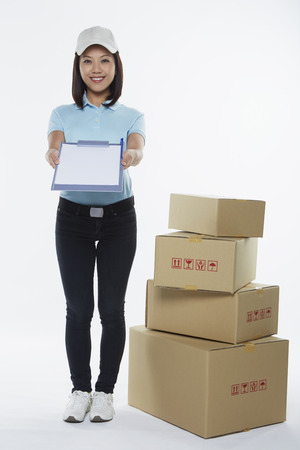 Delivery person showing clip file photo