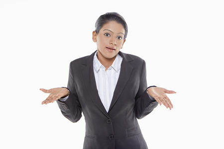 hand gesture: Businesswoman showing hand gesture Stock Photo