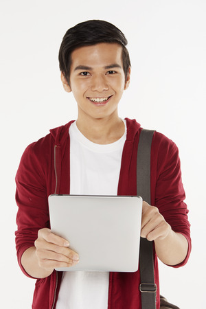 Man using a digital tablet photo
