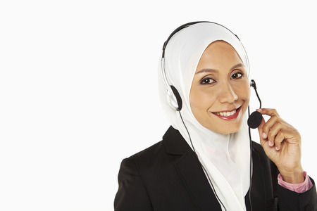 Businesswoman with headset Stock Photo - 22832699