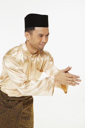 Man showing hand greeting gesture
