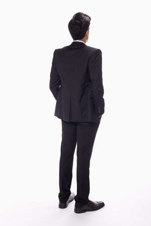Businessman standing with back facing the camera