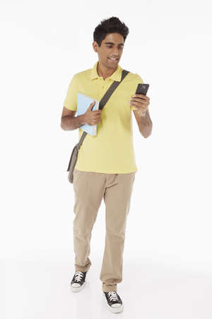 Man reading text message on smart phone