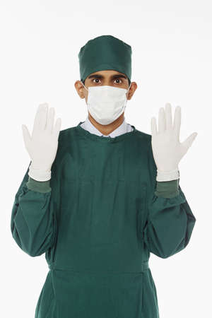 medical personnel: Medical personnel in surgical gown Stock Photo