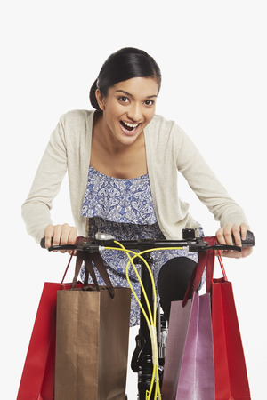 Woman riding a bicycle photo