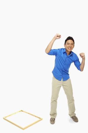 Man showing hand gesture, cheering photo
