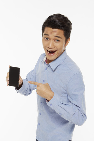 Man holding up a mobile phone photo