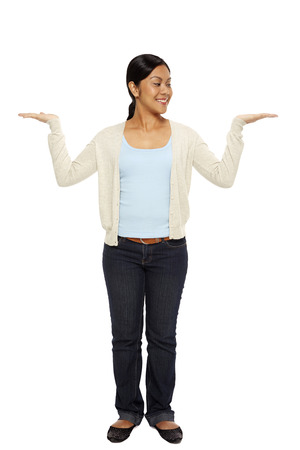 hand gesture: Cheerful woman showing hand gesture