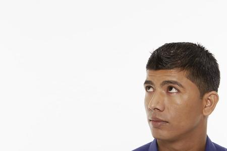 looking around: Portrait of a man looking around
