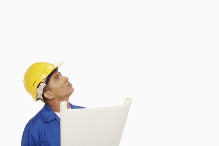 looking around: Construction worker looking around