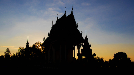Black silhouette of the Buddhist temple