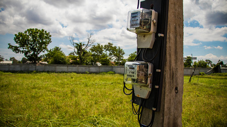 electric meters on selective focus