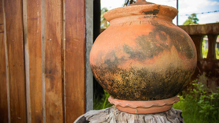 ware: Jar made of clay on seletive focus
