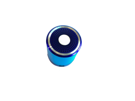 cylindrical: Small, cylindrical blue speaker for smartphones. Stock Photo