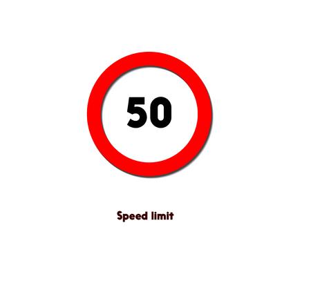 Panneau de signalisation circulaire rouge, limite de vitesse. Banque d'images - 85905000