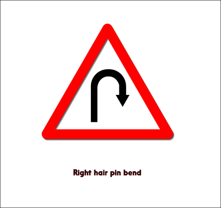 A road sign,right hair pin bend Imagens - 85979828