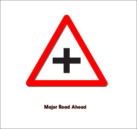 Road sign,Major road ahead Illustration
