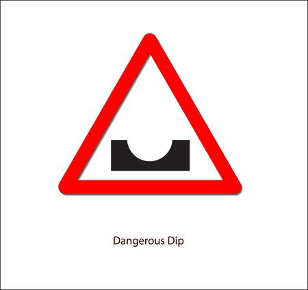 道路標識、危険なディップ。