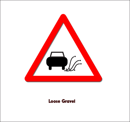 도로 표지판, 느슨한 자갈 일러스트