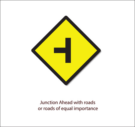 Road sign,junction ahead with roads or road of equal  importance