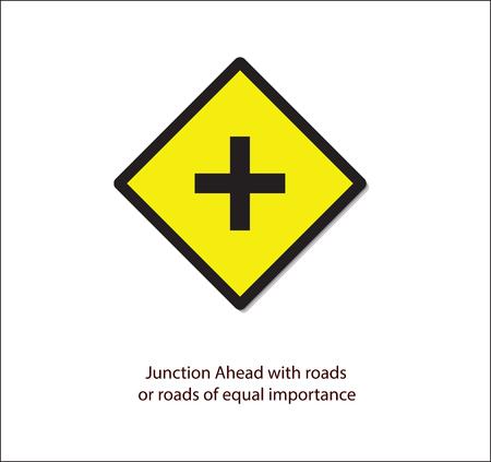 Panneau de signalisation, jonction avec des routes ou des routes de même importance